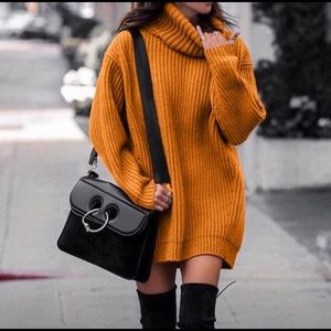 Over sized knit sweater dress